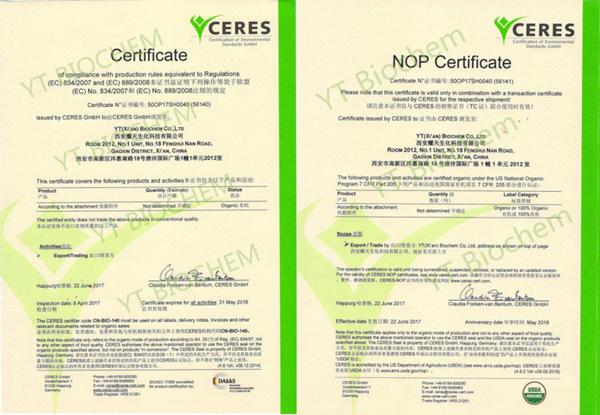 certification of pea protein powder